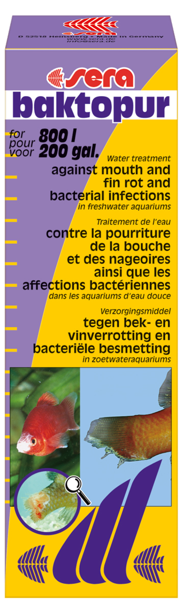 Средство для воды Sera Baktopur, 50 мл2550Средство для воды Sera Baktopur надежно борется с бактериальными инфекциями, такими как нагноение ротовой полости и плавниковая гниль. Симптомами бактериальных заболеваний являются белые с сероватым оттенком, подобные вате, образования на коже и плавниках пресноводных и прудовых рыб.