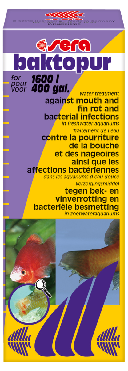 Средство для воды Sera Baktopur, 100 мл60802Средство для воды Sera Baktopur надежно борется с бактериальными инфекциями, такими как нагноение ротовой полости и плавниковая гниль. Симптомами бактериальных заболеваний являются белые с сероватым оттенком, подобные вате, образования на коже и плавниках пресноводных и прудовых рыб.