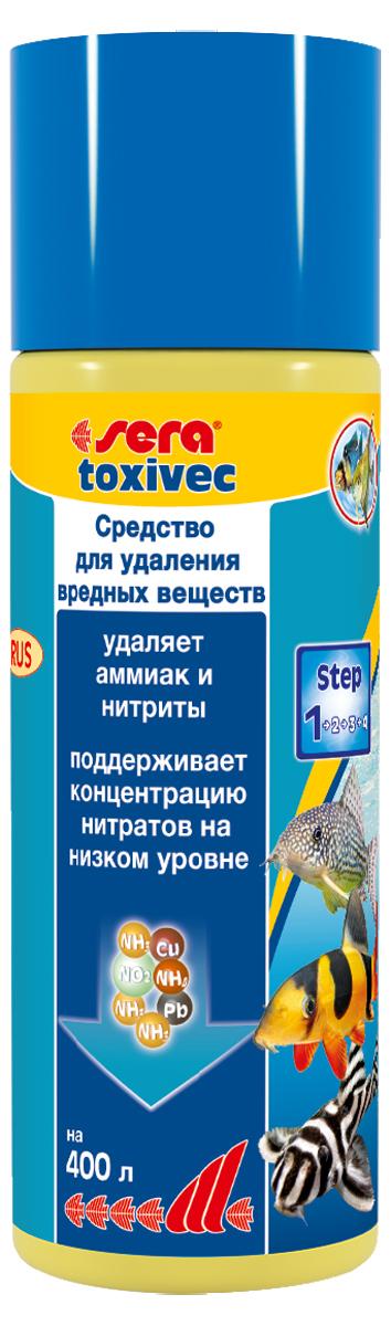 Средство для воды Sera Toxivec, 100 мл3001Средство для воды Sera Toxivec содержит новейшую формулу QuickClean и немедленно устраняет опасные загрязнители, угрожающие жизни рыб и фильтрующих бактерий, из аквариумной воды, устраняет аммоний/аммиак и нитриты. Благодаря этому он предотвращает их переход в нитраты и, таким образом, сдерживает рост нежелательных водорослей. Кроме того, он устраняет агрессивный хлор из водопроводной воды. Также эффективен в качестве устранителя остатков дезинфицирующих средств и примененных лекарств. При этом он способен даже на большее: связывает токсичные тяжёлые металлы, такие как медь, цинк, свинец и даже ртуть.Поэтому эти загрязнители не могут навредить рыбам и полезным бактериям в биофильтре. Благодаря этому частота подмен воды может быть снижена. При необходимости, например, при особенно высоких уровнях загрязнения, допускается повышение применяемой дозы средства. Повторное внесение средства возможно уже через один-два часа.Уважаемые клиенты!Обращаем ваше внимание на возможные изменения в дизайне упаковки. Качественные характеристики товараостаются неизменными. Поставка осуществляется в зависимости от наличия на складе.