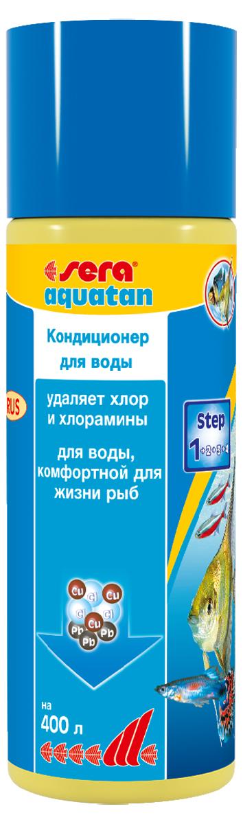 Кондиционер для воды Sera Aquatan, 100 мл0120710При каждой подмене воды в аквариум могут попасть такие токсичные вещества, как хлор и тяжелые металлы. Эти вещества могут присутствовать в концентрациях, опасных для жизни рыб даже в хорошо очищенной водопроводной воде. Средство для воды Sera Aquatan немедленно удаляет вредные вещества и превращает водопроводную воду в здоровую аквариумную, комфортную для жизни рыб. Он гарантирует оптимальные условия для жизни рыб, беспозвоночных, растений, а также полезных микроорганизмов. Для обеспечения рыб комфортной для жизни, безопасной и чистой водой Sera Aquatan немедленно удаляет хлор и хлорамины, связывает токсичные тяжелые металлы, такие как медь, цинк или свинец, предотвращает загрязнение воды аммиаком, pH-нейтральная формула.