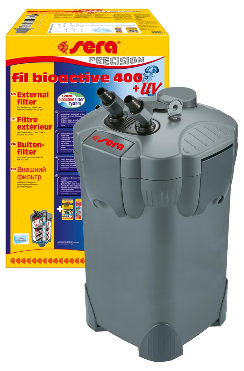Фильтр аквариумный внешний Sera Fil Bioactive 400 + УФ0120710Фильтр аквариумный внешний Sera Fil Bioactive - это многоцелевой, удобный и простой в использовании внешний фильтр с встроенным УФ-стерилизатором для пресноводных аквариумов. Этот мощный и при этом экономящий энергию внешний фильтр с большим количеством принадлежностей готов к эксплуатации и немедленно биологически активен. Емкости для фильтрующих материалов гарантируют оптимальную послойную укладку фильтрующих материалов и простой доступ к ним. Входной и выходящий патрубки фильтров разработаны таким образом, что соединительные шланги могут отделяться для чистки с помощью разборных соединений с регулируемым вентилем. Фильтры серии УФ (130 + УФ, 250 + УФ, 400 + УФ) оснащены встроенной УФ-лампой 5 Вт, которая облучает жестким УФ-излучением фильтруемую воду, уничтожая болезнетворных организмов, паразитов и водорослей на стадии размножения.Модель отличается тихой работой двигателя и длительным сроком службы. Поставляется с высокоэффективным фильтрующим материалом Sera siporax Professional и биологическим активатором Sera filter biostart.
