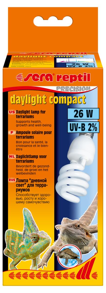 Лампа для террариума Sera Daylight Compact, 2%, 25 Вт0120710Лампа дневного освещения для террариума Sera Daylight Compact обеспечивает базовый уровень излучения UV-B 2%. Она способствует здоровью, росту и хорошему самочувствию рептилий. Рептилии ассоциируют тепло со светом и целенаправленно направляются к источнику света, чтобы принять солнечные ванны. С помощью таких солнечных ванн рептилия обеспечивает себе естественную регуляцию тепла. Полный спектр лампы, аналогичный солнечному спектру, стимулирует естественное поведение и обеспечивает хорошую цветопередачу.