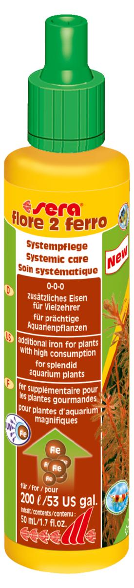 Удобрение для аквариумных растений Sera Flore 2 Ferro, 50 млART-1170404Удобрение для аквариумных растений Sera Flore 2 Ferro поставляет растениям железо в достаточном количестве и таким образом способствует формированию насыщенного цвета. Использование специального хелатного комплекса железа позволяет ему оставаться в доступной форме в течение нескольких дней. Удобрение не содержит нитратов и фосфатов. Хорошо переносимо всеми беспозвоночными.