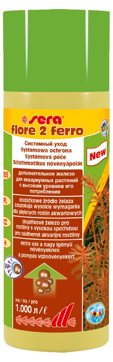 Удобрение для аквариумных растений Sera Flore 2 Ferro, 250 мл0120710Удобрение для аквариумных растений Sera Flore 2 Ferro поставляет растениям железо в достаточном количестве и таким образом способствует формированию насыщенного цвета. Использование специального хелатного комплекса железа позволяет ему оставаться в доступной форме в течение нескольких дней. Удобрение не содержит нитратов и фосфатов. Хорошо переносимо всеми беспозвоночными.