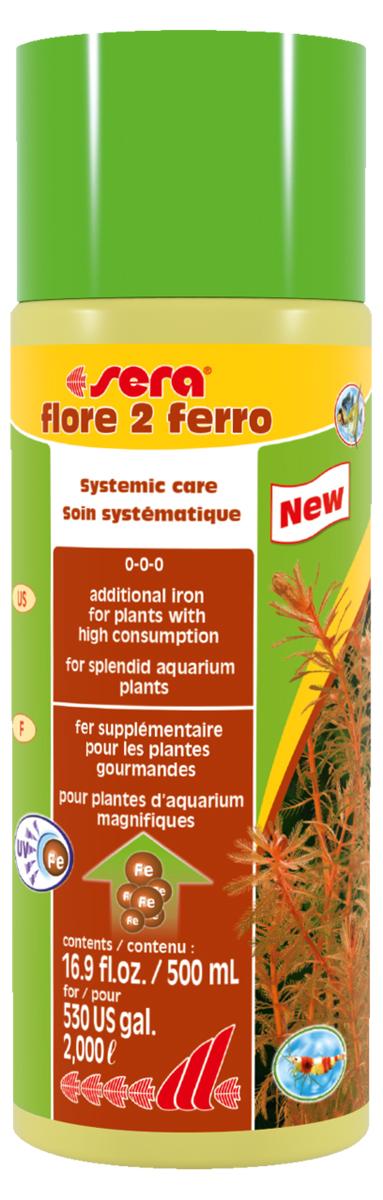 Удобрение для аквариумных растений Sera Flore 2 Ferro, 500 мл0120710Удобрение для аквариумных растений Sera Flore 2 Ferro поставляет растениям железо в достаточном количестве и таким образом способствует формированию насыщенного цвета. Использование специального хелатного комплекса железа позволяет ему оставаться в доступной форме в течение нескольких дней. Удобрение не содержит нитратов и фосфатов. Хорошо переносимо всеми беспозвоночными.
