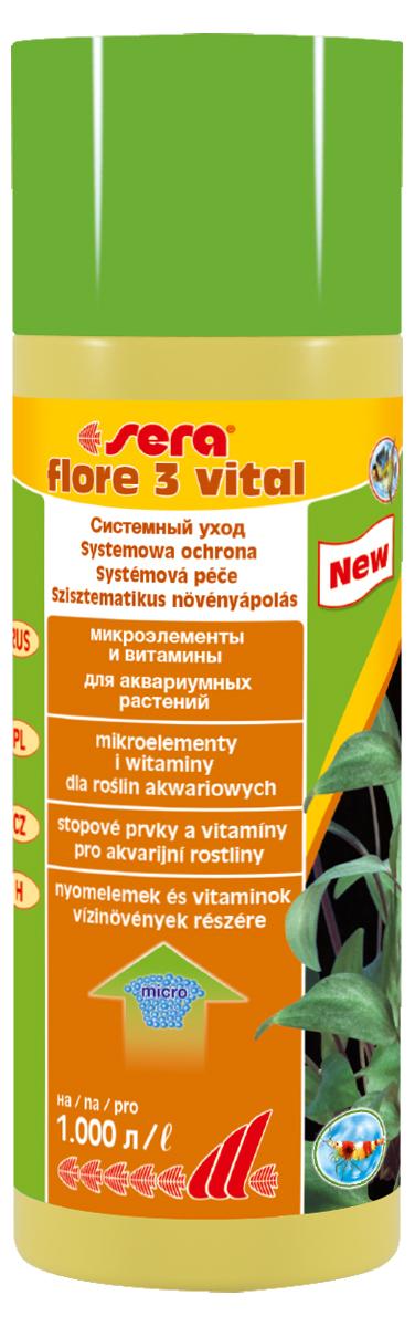 Удобрение для аквариумных растений Sera Flore 3 Vital, 250 мл0120710Удобрение для аквариумных растений Sera Flore 3 Vital предназначено для повышения выносливости растений. Оно надежно предотвращает опасные перебои в снабжении питательными веществами, поддерживая, при ежедневном применении, постоянный уровень жизненно важных микроэлементов и витаминов. С помощью добавления редких, но важных микроэлементов повышается устойчивость водных растений к болезням. Растения будут оставаться здоровыми и становиться менее чувствительными к неблагоприятным внешним воздействиям. Удобрение не содержит нитратов и фосфатов. Хорошо переносимо всеми беспозвоночными.