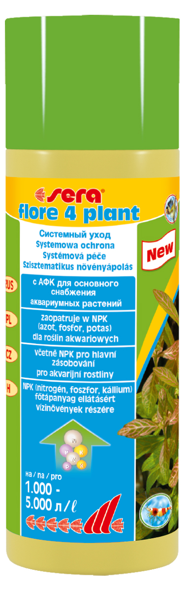 Удобрение для аквариумных растений Sera Flore 4 Plant, 250 мл0120710Удобрение для аквариумных растений Sera Flore 4 Plant предназначено для аквариумов с небольшим количеством обитателей. Удобрение разработано для снабжения здоровых и бурно растущих водных растений азотом, фосфором и калием в оптимальном соотношении в аквариумах, выполненных в акваскейп и голландском стилях. Удобрение безопасно для всех беспозвоночных.