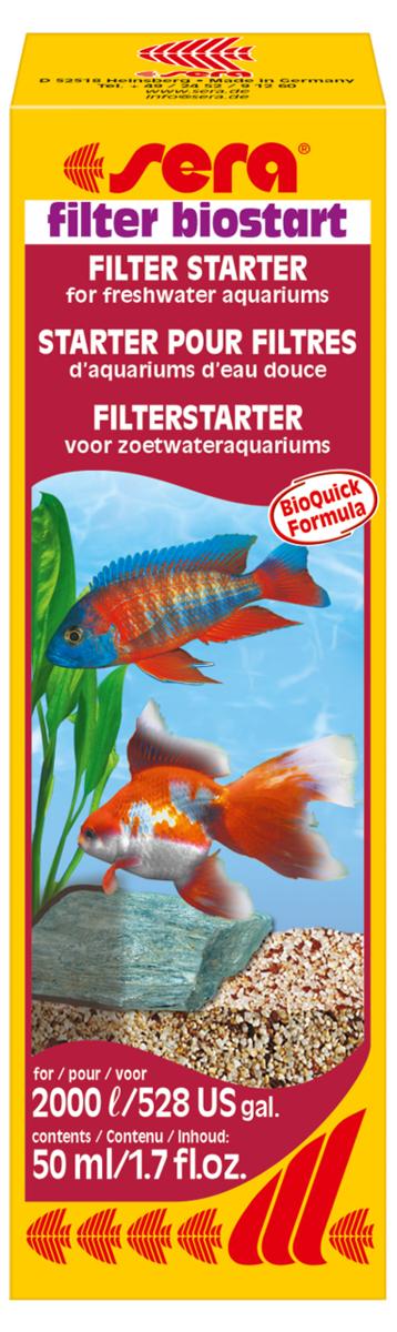 Средство для воды Sera Filter Biostart, 50 мл средство для воды sera baktopur direct 24 таблетки