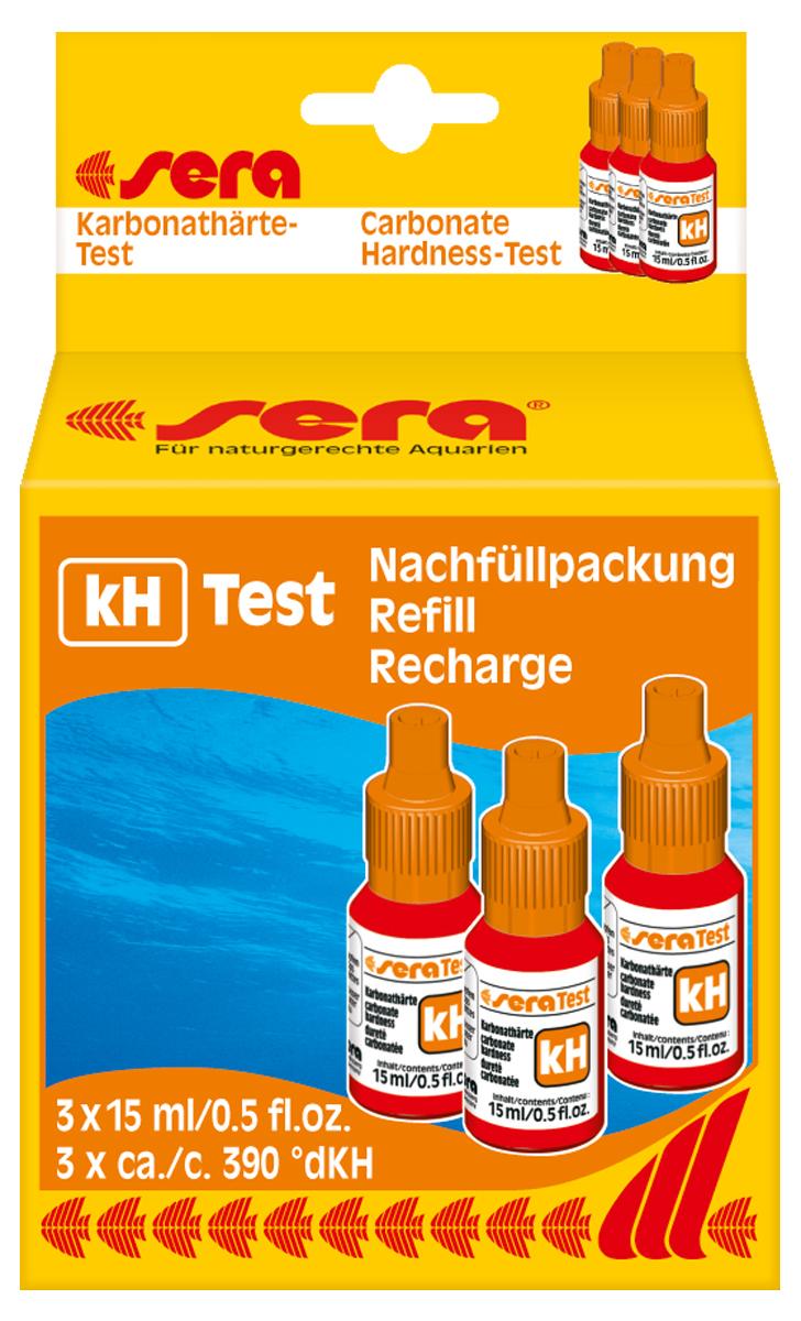 Сменный реагент Sera kH-Test, 15 мл, 3 шт6037Сменный реагент для sera kH-тест. В наборе 3 флакона по 15 мл. Во флаконе находится примерно 390 капель реагента (одна капля реагента соответствует одной единице карбонатной жесткости в пробе тестируемой воды).