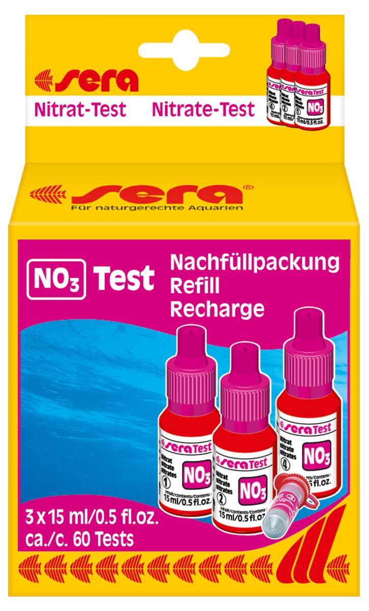 Сменный реагент Sera NO3-Test, 15 мл, 3 шт0120710Сменный реагент Sera NO3-Test предназначен для измерения уровня содержания нитратов в аквариумной воде. В наборе 3 флакона по 15 мл + порошок. Количество реагентов достаточно для проведения приблизительно 60 измерений.