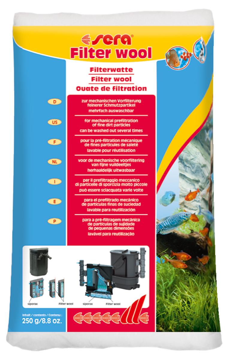 Фильтрующая вата Sera Filter Wool, 250 г8463Фильтрующая вата Sera Filter Wool предназначена для использования в качестве фильтрующего материала тонкой очистки в любых внешних и внутренних фильтрах аквариумов. Перед использованием в фильтре тщательно промойте фильтрующую вату под струей теплой воды.