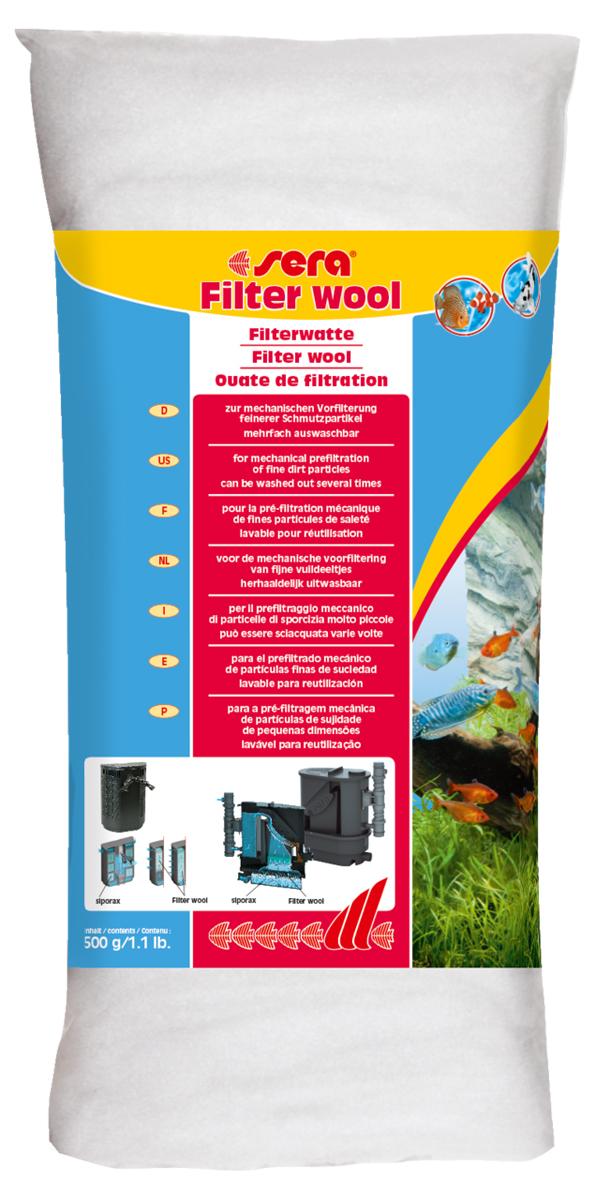 Фильтрующая вата Sera Filter Wool, 500 гART-1170404Фильтрующая вата Sera Filter Wool предназначена для использования в качестве фильтрующего материала тонкой очистки в любых внешних и внутренних фильтрах аквариумов. Перед использованием в фильтре тщательно промойте фильтрующую вату под струей теплой воды.