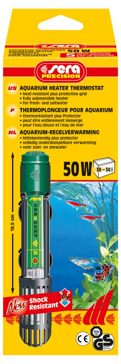 Нагреватель для аквариума Sera Precision, 50 Вт0120710Высококачественный нагреватель для аквариума Sera Precision оборудован термостатом, надежной схемой защиты и защитной сеткой, снабжен корпусом из ударопрочного кварцевого стекла. Регулируемый аквариумный нагреватель очень короткий и легко устанавливается в небольшие аквариумы. Режим работы обогревателя вкл/выкл отображается с помощью небольшой лампы. Объем аквариума: 30-50 л. Длина нагревателя: 18,5 см.