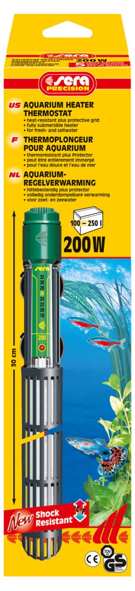 Нагреватель для аквариума Sera Precision, 200 Вт0120710Высококачественный нагреватель для аквариума Sera Precision оборудован термостатом, надежной схемой защиты и защитной сеткой, снабжен корпусом из ударопрочного кварцевого стекла. Регулируемый аквариумный нагреватель очень короткий и легко устанавливается в небольшие аквариумы. Режим работы обогревателя вкл/выкл отображается с помощью небольшой лампы. Объем аквариума: 100-250 л. Длина нагревателя: 30 см.