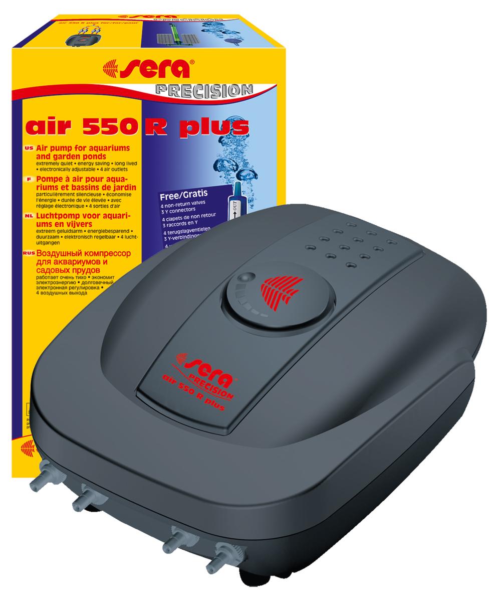 Компрессор аквариумный Sera Air 550 R Plus, регулируемый0120710Компрессор аквариумный Sera Air 550 R Plus подходит для обогащения воды кислородом через распылитель для фильтров (например, внутренние фильтры Sera серии L (Sera internal filter L)), а также для приведения в движение подвижных декоративных элементов, работающих от воздушного компрессора. Воздушные компрессоры Sera Air Plus отвечают всем современным требованиям: - высокое качество, - корпус из шумопоглащающего материала обеспечивает низкий уровень шума, - современный дизайн, - низкое потребление энергии, - долгий срок службы. Высококачественный четырехканальный компрессор Air 550 R Plus предназначен для больших аквариумов. Имеет 4 выхода, к каждому из которых подсоединена индивидуальная мембрана. Благодаря наличию электронной регулировки производительности можно изменять количество подаваемого в аквариум воздуха. В комплект включено 3 Y-образных тройника для объединения 4-х каналов в 1.