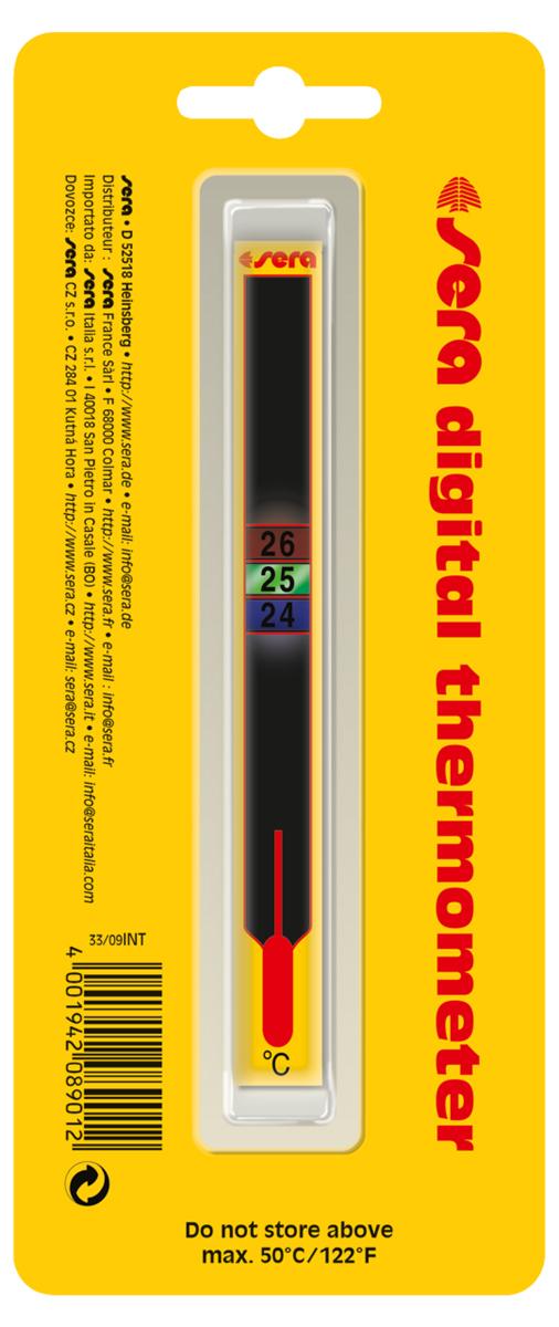 Термометр аквариумный Sera Digital, жидкокристаллический0120710Термометр аквариумный Sera Digital - жидкокристаллический самоклеящийся термометр для аквариумов и террариумов. Аккуратно вскройте упаковку и, отклеив защитную пленку, наклейте термометр на стекло аквариума в выбранном месте с наружной стороны. Температура воды в аквариуме отображается в квадратах, изменивших свой цвет. Приклеенный к стеклу термометр, при необходимости, можно легко удалить, при этом на стекле не останется следов клея.