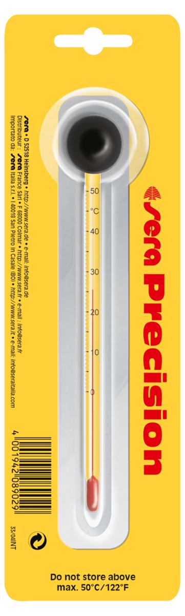 Термометр аквариумный Sera Precision, высокоточный0120710Высокоточный аквариумный термометр Sera Precision всегда поможет узнать точную температуру воды в вашем аквариуме. Благодаря высококачественной и долговечной присоске термометр можно зафиксировать в любом удобном для обозрения месте. Термометр должен быть установлен на внутренней стороне стекла аквариума в месте хорошего тока воды. Высокоточный термометр не содержит ртути, безопасен для рыб и других обитателей аквариума.