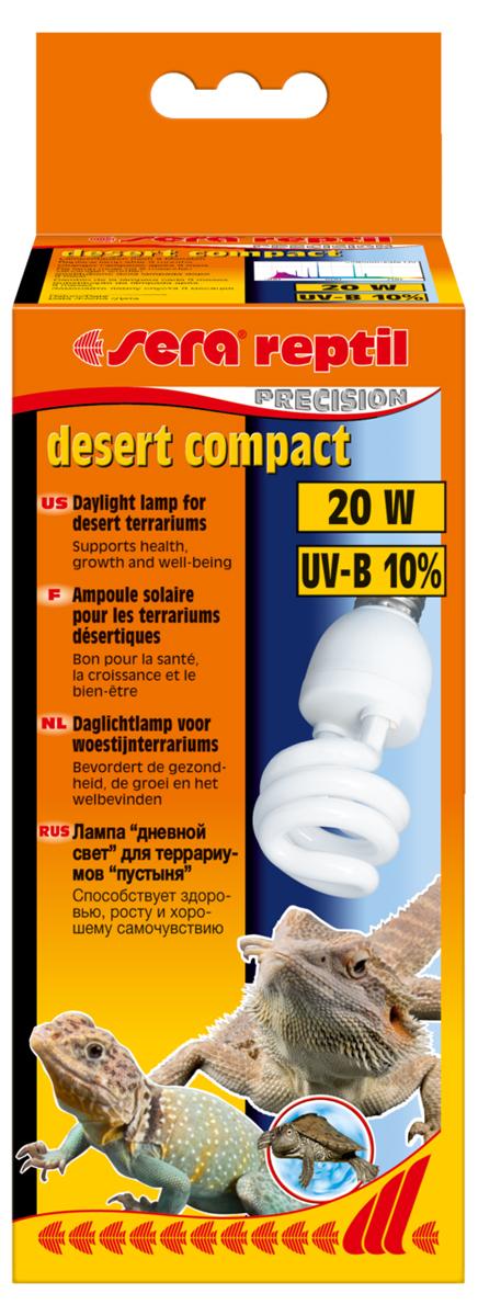 Лампа аквариумная Sera Reptil Desert Compact UV-B, 10%, цоколь Е27, 20W0120710Освещение для террариумов с обитателями пустыни. 10% UV-B. Высокая интенсивность UV-B излучения. Идеально сочетается с лампой Sera reptil daylight compact 2% UV-B. Цоколь Е27