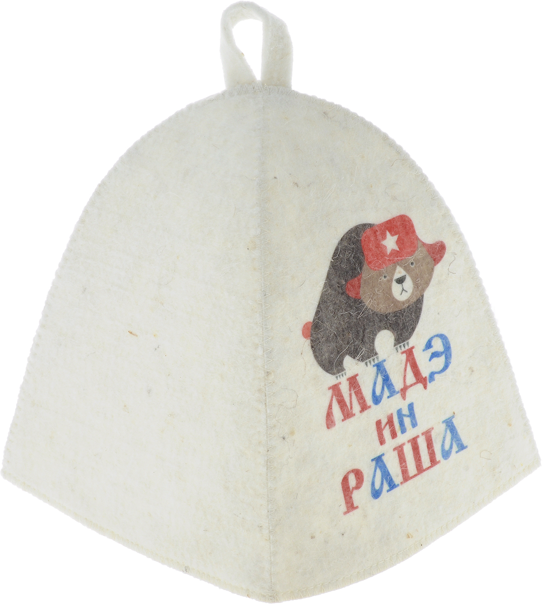 Шапка для бани и сауны Главбаня Мадэ ин рашаAPS-4L-01Шапка для бани и сауны Главбаня Мадэ ин раша, изготовленная из войлока, станет незаменимым аксессуаром для любителей попариться в русской бане и для тех, кто предпочитает сухой жар финской бани. Шапка оформлена оригинальным принтом и дополнена надписью Мадэ ин раша. Шапка защитит от головокружения в бане и перегрева головы, а также предотвратит ломкость волос. С помощью специальной петельки шапку удобно вешать на крючок в предбаннике.Такая шапка станет отличным подарком для любителей отдыха в бане или сауне. Высота шапки: 24 см. Обхват головы: 70 см.