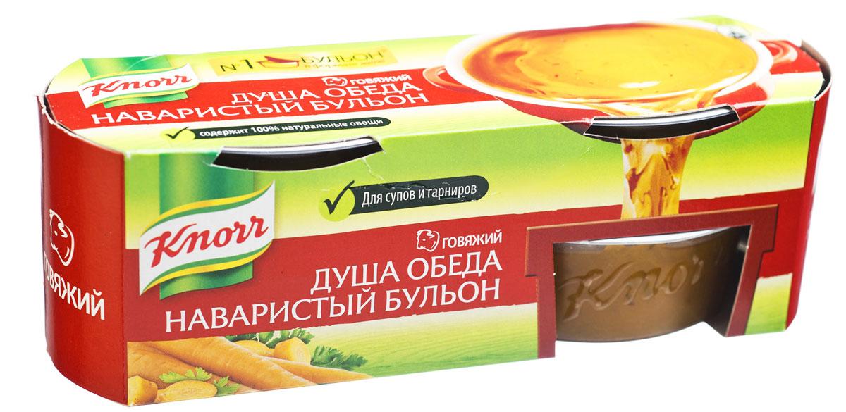 Knorr Приправа Бульон говяжий желе, 4 штуки по 28 г0120710Новый Кнорр Душа обеда — говяжий бульон в желеобразной форме. Как и ваш домашний бульон, он сделан из отборных ингредиентов — говяжьего мяса и овощей высокого качества, приготовленных путем долгого томления до желеобразной консистенции.Добавьте его, когда вы готовите суп, вместе с овощами (1 шт на 1 литр) — и вы увидите, как легко он растворяется, отдавая блюду насыщенный аромат и густой вкус домашнего бульона из говядины. Попробуйте Кнорр Душа обеда также для приготовления овощей, мяса и гарниров.Чтобы надолго сохранить вкус и полезные свойства наваристого говяжьего бульона, ваши бабушки традиционно варили мясо на кости. Точно так же, как и при готовке холодца, костные ткани обеспечивали желирующие свойства. При охлаждении бульон застывал, сохраняя влагу, а во время готовки желе отдавало всю сочность и ароматность говяжьего бульона. Традиционный способ желирования вкусных супов применялся задолго до появления первых холодильников и сохранял вкус и аромат только что сваренного блюда.Кнорр восстановили технологию долгого томления, которая из поколение в поколение передавалась в больших деревенских семьях. В качестве натурального консерванта используется соль, поэтому желеобразный бульон не обязательно хранить в холодильнике и можно взять в загородную поездку. Домашний вкус, созданный из тщательно отобранных ингредиентов профессиональным шеф-поваром Knorr, позволяет современной хозяйке быстро приготовить качественные первые и вторые блюда, а также добавить насыщенного говяжьего вкуса любимым гарнирам.Уважаемые клиенты! Обращаем ваше внимание, что полный перечень состава продукта представлен на дополнительном изображении.