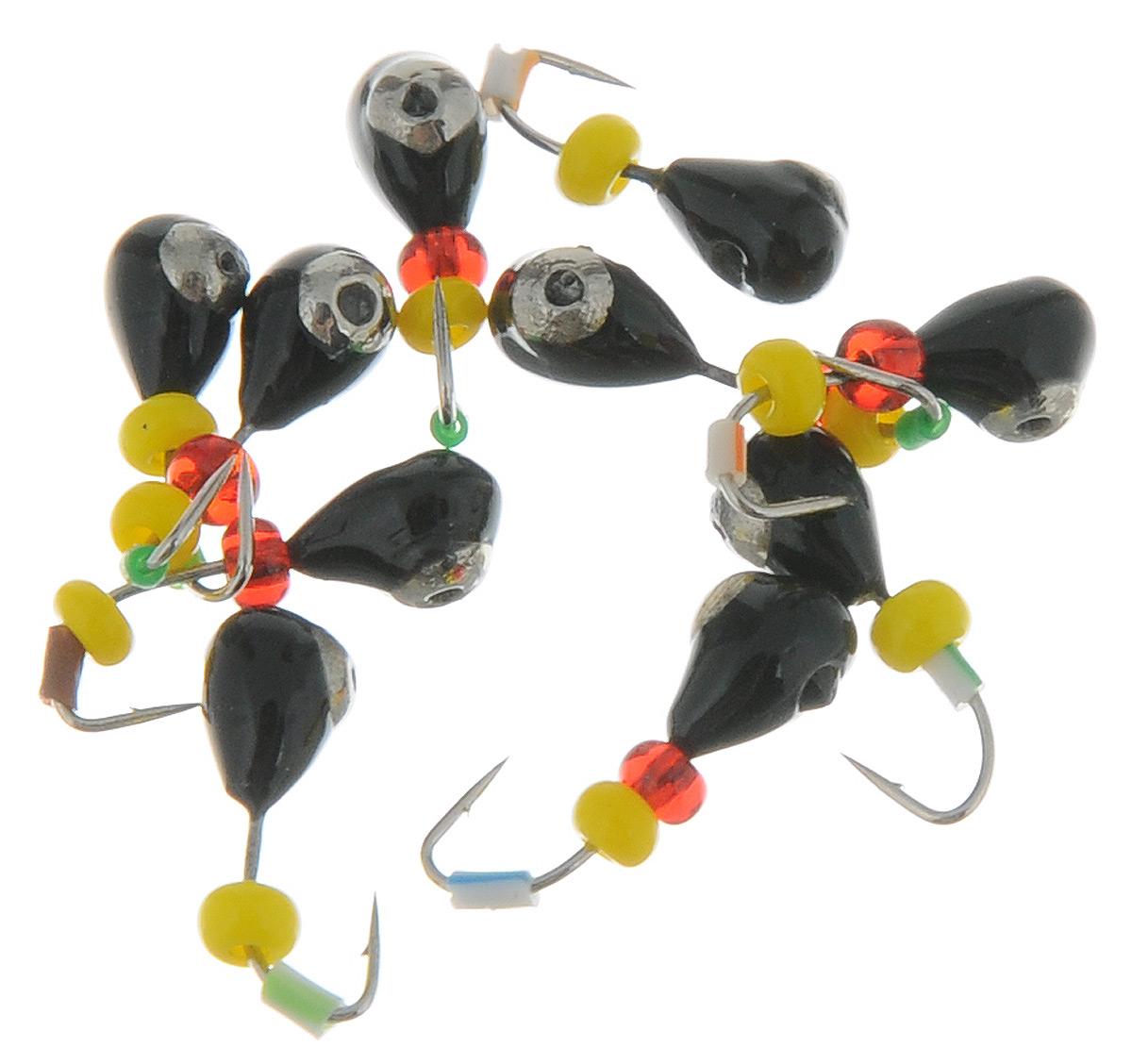 Мормышка вольфрамовая Dixxon-Russia Капля, с отверстием, с коронкой, цвет: никель, черный, диаметр 3 мм, 0,45 г, 10 шт