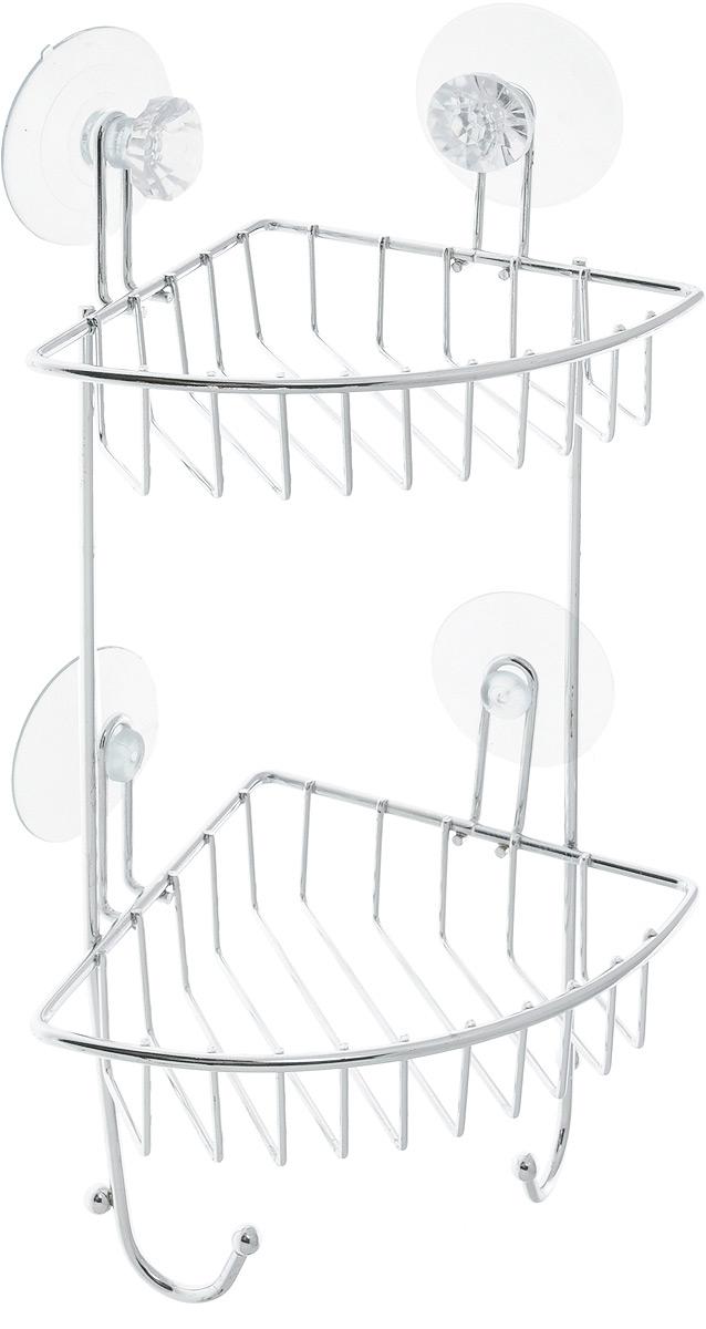 Полка для ванной Top Star Kristall, угловая, двухъярусная, на присосках, цвет: прозрачный, стальной, 14 х 19 х 34 смRYN 023Угловая полка для ванной Top Star Kristall изготовлена из стали с качественным хромированным покрытием, которое надолго защитит изделие от ржавчины в условиях высокой влажности в ванной комнате. Изделие имеет два яруса и крепится к стене с помощью четырех присосок. Снизу расположены два крючка для полотенец. Классический дизайн и оптимальная вместимость подойдет для любого интерьера ванной комнаты или кухни.Размер полки: 14 х 19 х 34 см.