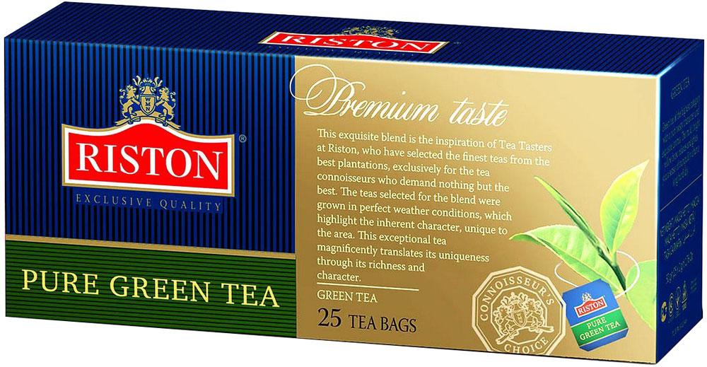 Riston Green зеленый чай в пакетиках, 25 шт101246Зеленый чай Riston высшей категории с насыщенным терпким вкусом и изысканным ароматом. Мягкий золотистый настой напитка помогает расслабиться и почувствовать отдохновение после длинного насыщенного дня.