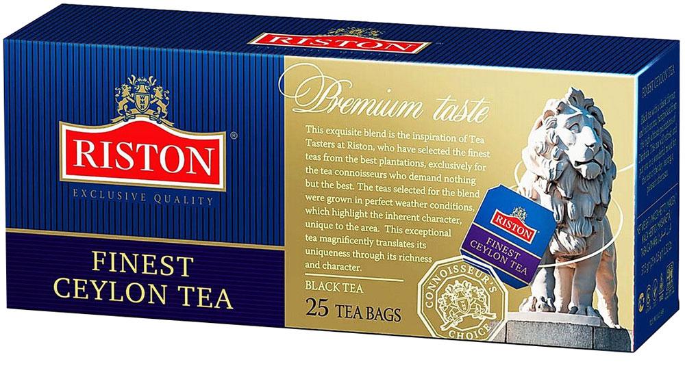 Riston Файнест Цейлон черный чай в пакетиках, 25 шт1184-11Riston Файнест Цейлон - черный чай с классическим вкусом и богатым насыщенным ароматом, собранный на горных плантациях Димбулы (Цейлон), согревает наши мысли и дарит удивительное настроение на весь день. Оставляет долгое, необыкновенно приятное послевкусие. Стандарт BOPF.