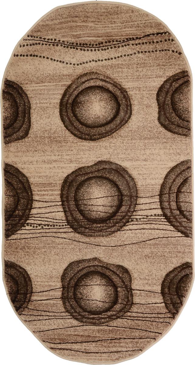 Ковер Mutas Carpet Карвинг, овальный, цвет: бежевый, коричневый, 80 х 150 см531-103Ковер Mutas Carpet Карвинг изготовлен из прочного синтетического материала heat-set, улучшенного варианта полипропилена (эта нить получается в результате его дополнительной обработки). Полипропилен износостоек, нетоксичен, не впитывает влагу, не провоцирует аллергию. Структура волокна в полипропиленовых коврах гладкая, поэтому грязь не будет въедаться и скапливаться на ворсе. Практичный и износоустойчивый ворс не истирается и не накапливает статическое электричество. Ковер обладает хорошими показателями теплостойкости и шумоизоляции. Оригинальный рисунок позволит гармонично оформить интерьер комнаты, гостиной или прихожей. За счет невысокого ворса ковер легко чистить. При надлежащем уходе синтетический ковер прослужит долго, не утратив ни яркости узора, ни блеска ворса, ни упругости. Самый простой способ избавить изделие от грязи - пропылесосить его с обеих сторон (лицевой и изнаночной). Влажная уборка с применением шампуней и моющих средств не противопоказана. Хранить рекомендуется в свернутом рулоном виде.