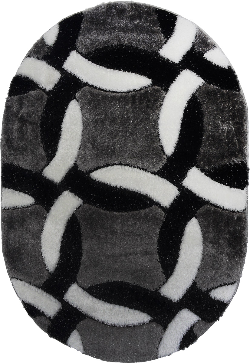 Ковер Mutas Carpet Anatolia Cotton Fashion, овальный, цвет: черный, белый, серый, 120 х 180 смFS-91909Ковер Ковер Mutas Carpet Anatolia Cotton Fashion прекрасно подойдет для любого интерьера. Изделие изготовлено из полиэстера 50%, микрофибры 30% и букле 20%. За счет прочного ворса ковер легко чистить. При надлежащем уходе синтетический ковер прослужит долго, не утратив ни яркости узора, ни блеска ворса, ни упругости. Самый простой способ избавить изделие от грязи - пропылесосить его с обеих сторон (лицевой и изнаночной). Влажная уборка с применением шампуней и моющих средств не противопоказана. Хранить рекомендуется в свернутом рулоном виде.