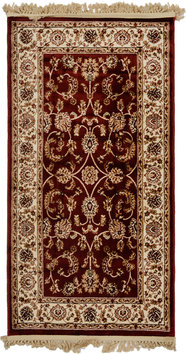 Ковер Mutas Carpet Силк, прямоугольный, цвет: бордовый, бежевый, белый, 80 х 150 смES-412Ковер Mutas Carpet Силк изготовлен из прочного полипропилена. Полипропилен износостоек, нетоксичен, не впитывает влагу, не провоцирует аллергию. Структура волокна в полипропиленовых коврах гладкая, поэтому грязь не будет въедаться и скапливаться на ворсе. Практичный и износоустойчивый ворс не истирается и не накапливает статическое электричество. Ковер обладает хорошими показателями теплостойкости и шумоизоляции. Оригинальный рисунок позволит гармонично оформить интерьер комнаты, гостиной или прихожей. За счет невысокого ворса ковер легко чистить. При надлежащем уходе синтетический ковер прослужит долго, не утратив ни яркости узора, ни блеска ворса, ни упругости. Самый простой способ избавить изделие от грязи - пропылесосить его с обеих сторон (лицевой и изнаночной). Влажная уборка с применением шампуней и моющих средств не противопоказана. Хранить рекомендуется в свернутом рулоном виде.
