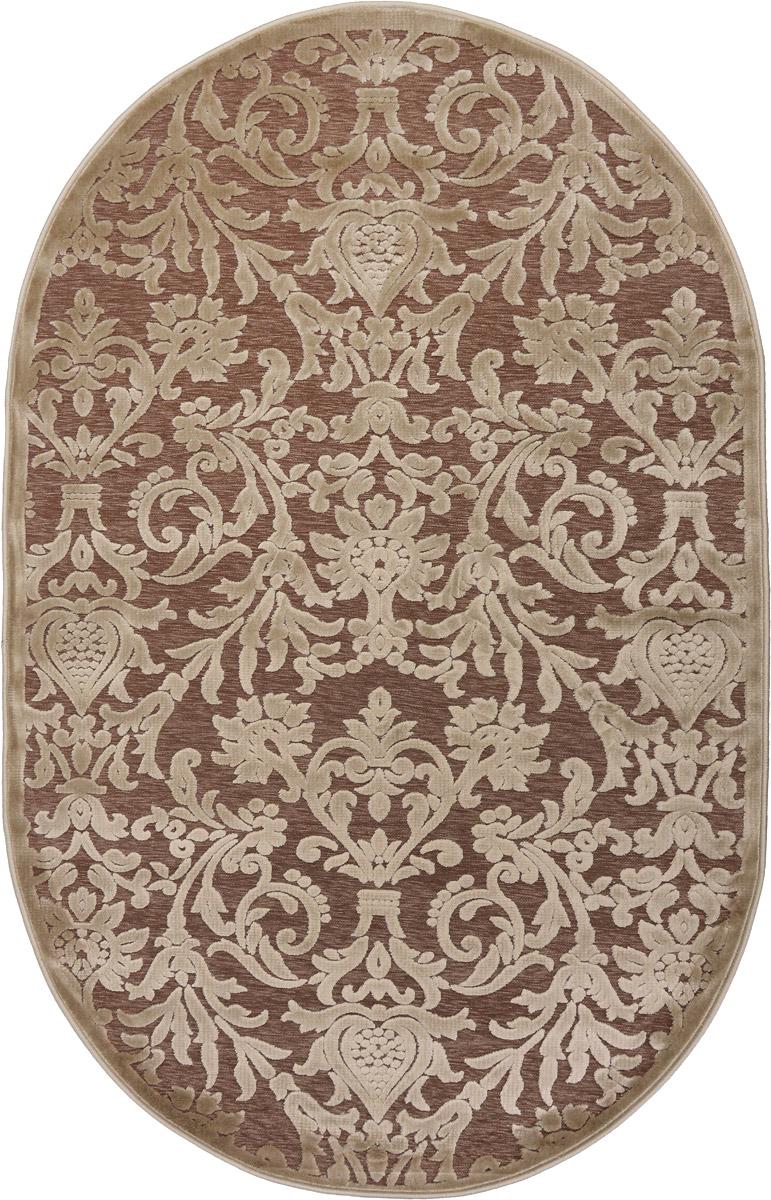 Ковер ART Carpets Платин, овальный, цвет: бежевый, 120 х 180 смES-412Ковер ART Carpets Платин изготовлен из 100% акрила. Структура волокна гладкая, поэтому грязь не будет въедаться и скапливаться на ворсе. Практичный и Физносоустойчивый ворс не истирается и не накапливает статическое электричество. Ковер обладает хорошими показателями теплостойкости и шумоизоляции. Оригинальный рисунок позволит гармонично оформить интерьер комнаты, гостиной или прихожей. За счет невысокого ворса ковер легко чистить. При надлежащем уходе ковер прослужит долго, не утратив ни яркости узора, ни блеска ворса, ни упругости. Самый простой способ избавить изделие от грязи - пропылесосить его с обеих сторон (лицевой и изнаночной). Хранить рекомендуется в свернутом рулоном виде.