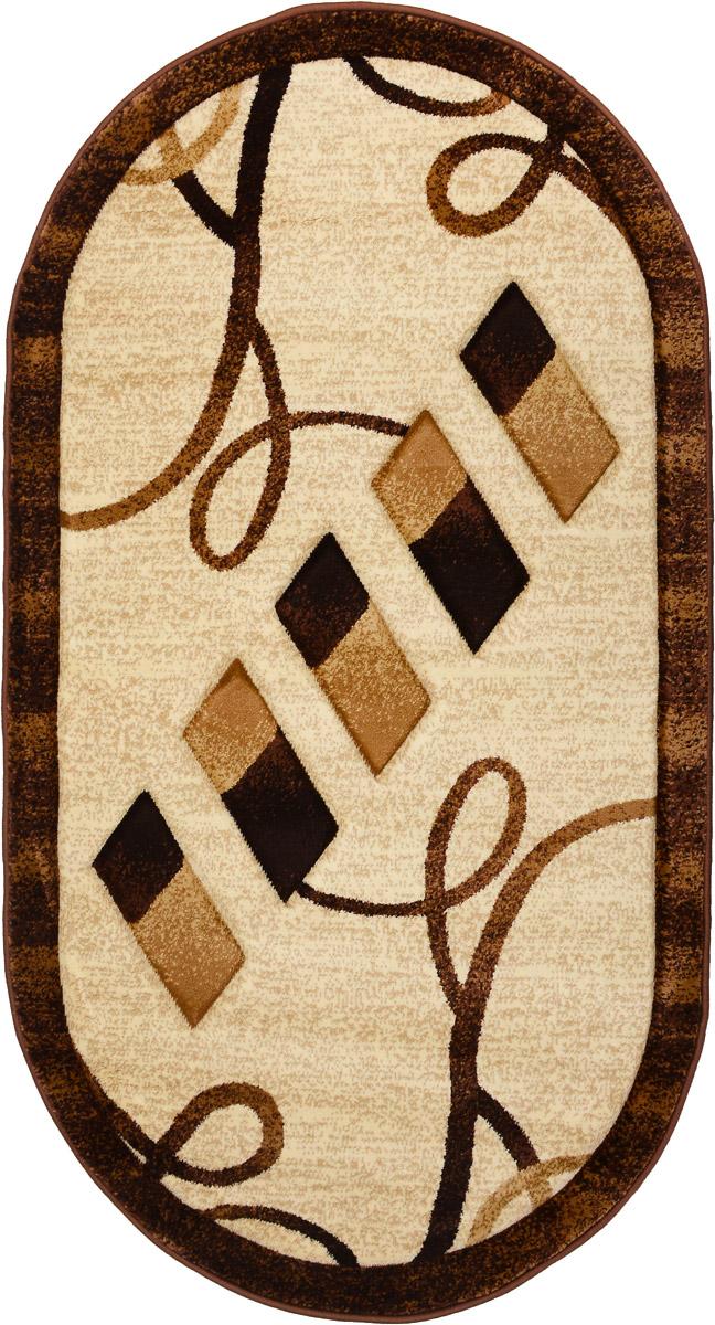 Ковер Emirhan Imperial Carving, овальный, цвет: коричневый, бежевый, 80 х 150 смES-412Ковер Emirhan Imperial Carving изготовлен из прочного синтетического материала heat-set, улучшенного варианта полипропилена (эта нить получается в результате его дополнительной обработки). Полипропилен износостоек, нетоксичен, не впитывает влагу, не провоцирует аллергию. Структура волокна в полипропиленовых коврах гладкая, поэтому грязь не будет въедаться и скапливаться на ворсе. Практичный и износоустойчивый ворс не истирается и не накапливает статическое электричество. Ковер обладает хорошими показателями теплостойкости и шумоизоляции. Оригинальный рисунок позволит гармонично оформить интерьер комнаты, гостиной или прихожей. За счет невысокого ворса ковер легко чистить. При надлежащем уходе синтетический ковер прослужит долго, не утратив ни яркости узора, ни блеска ворса, ни упругости. Самый простой способ избавить изделие от грязи - пропылесосить его с обеих сторон (лицевой и изнаночной). Влажная уборка с применением шампуней и моющих средств не противопоказана. Хранить рекомендуется в свернутом рулоном виде.