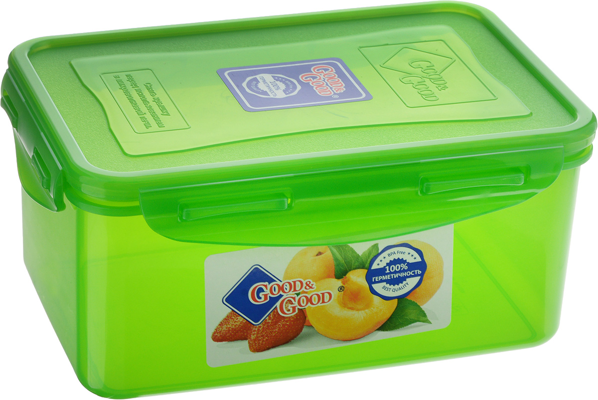 Контейнер для пищевых продуктов Good&Good, цвет: зеленый, 1,5 л. 3-221395599Контейнер Good&Good, изготовленный из высококачественного полипропилена, предназначен для хранения любых пищевых продуктов. Крышка с силиконовой вставкой герметично защелкивается специальным механизмом. Изделие устойчиво к воздействию масел и жиров, легко моется. Полупрозрачные стенки позволяют видеть содержимое. Контейнер имеет возможность хранения продуктов глубокой заморозки, обладает высокой прочностью. Контейнер Good&Good удобен для ежедневного использования в быту.Можно мыть в посудомоечной машине и использовать в холодильнике и микроволновой печи.Размер контейнера (с учетом крышки): 13,5 х 20 х 9 см.