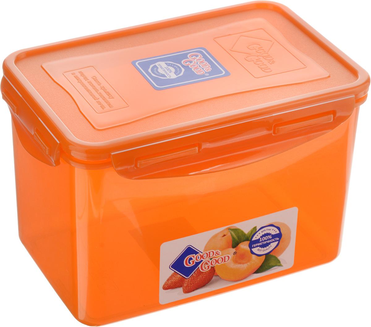 Контейнер для пищевых продуктов Good&Good, 2,2 л. 3-3VT-1520(SR)Контейнер Good&Good, изготовленный из высококачественного полипропилена, предназначен для хранения любых пищевых продуктов. Крышка с силиконовой вставкой герметично защелкивается специальным механизмом. Изделие устойчиво к воздействию масел и жиров, легко моется. Полупрозрачные стенки позволяют видеть содержимое. Контейнер имеет возможность хранения продуктов глубокой заморозки, обладает высокой прочностью. Контейнер Good&Good удобен для ежедневного использования в быту.Можно мыть в посудомоечной машине и использовать в холодильнике и микроволновой печи.Размер контейнера (с учетом крышки): 13,5 х 20 х 13 см.