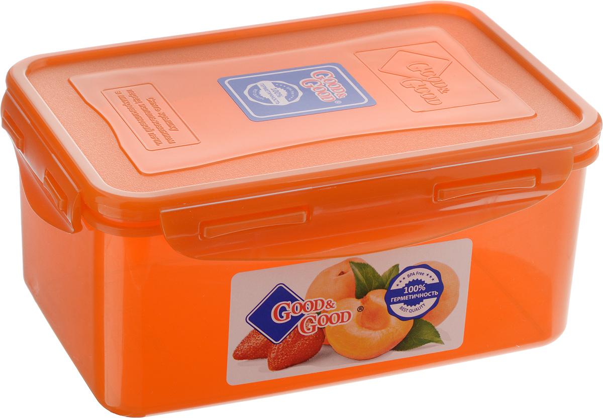 Контейнер для пищевых продуктов Good&Good, цвет: оранжевый, 1,5 л. 3-2VT-1520(SR)Контейнер Good&Good, изготовленный из высококачественного полипропилена, предназначен для хранения любых пищевых продуктов. Крышка с силиконовой вставкой герметично защелкивается специальным механизмом. Изделие устойчиво к воздействию масел и жиров, легко моется. Полупрозрачные стенки позволяют видеть содержимое. Контейнер имеет возможность хранения продуктов глубокой заморозки, обладает высокой прочностью. Контейнер Good&Good удобен для ежедневного использования в быту.Можно мыть в посудомоечной машине и использовать в холодильнике и микроволновой печи.Размер контейнера (с учетом крышки): 13,5 х 20 х 9 см.