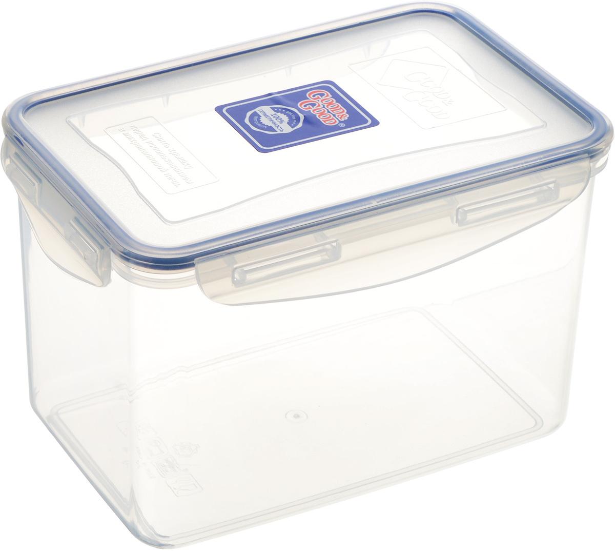 Контейнер пищевой Good&Good, цвет: прозрачный, темно-синий, 2,2 лVT-1520(SR)Прямоугольный контейнер Good&Good изготовлен из высококачественного полипропилена и предназначен для хранения любых пищевых продуктов. Благодаря особым технологиям изготовления, лотки в течение времени службы не меняют цвет и не пропитываются запахами. Крышка с силиконовой вставкой герметично защелкивается специальным механизмом. Контейнер Good&Good удобен для ежедневного использования в быту.Можно мыть в посудомоечной машине и использовать в микроволновой печи.Размер контейнера (с учетом крышки): 20 х 13,5 х 13 см.