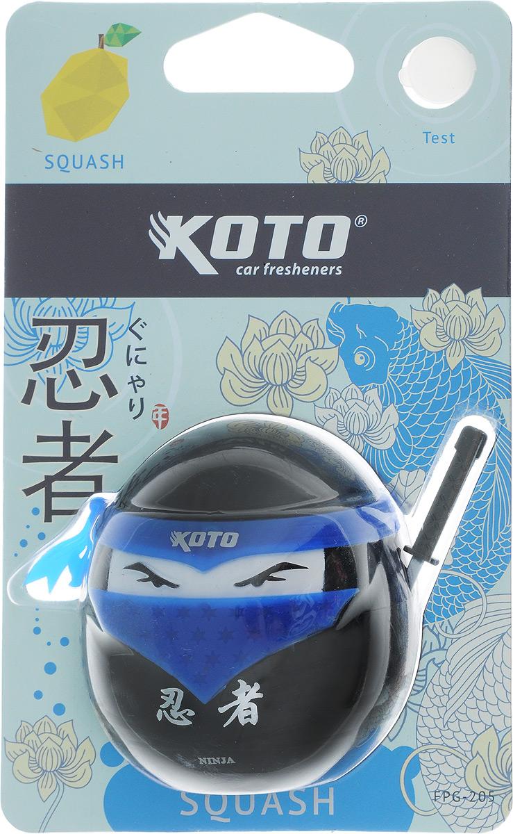 Ароматизатор автомобильный Koto Ниндзя. Squash, гелевый, 45 млK100Автомобильный ароматизатор Koto Ниндзя. Squash эффективно устраняет неприятные запахи и придает приятный аромат цитрусовых. Сочетание геля с парфюмами наилучшего качества обеспечивает устойчивый запах. Кроме того, ароматизатор обладает элегантным дизайном. Изделие можно разместить на горизонтальной поверхности, используя двухсторонний скотч.