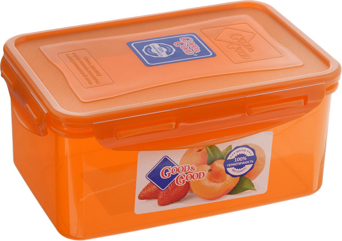 Контейнер для пищевых продуктов Good&Good, цвет: оранжевый, 1,5 л21395599Контейнер Good&Good, изготовленный из высококачественного полипропилена, предназначен для хранения любых пищевых продуктов. Крышка с силиконовой вставкой герметично защелкивается специальным механизмом. Изделие устойчиво к воздействию масел и жиров, легко моется. Контейнер имеет возможность хранения продуктов глубокой заморозки, обладает высокой прочностью. Контейнер Good&Good удобен для ежедневного использования в быту.Можно мыть в посудомоечной машине и использовать в холодильнике и микроволновой печи.Размер контейнера (с учетом крышки): 13,5 х 20 х 9 см.