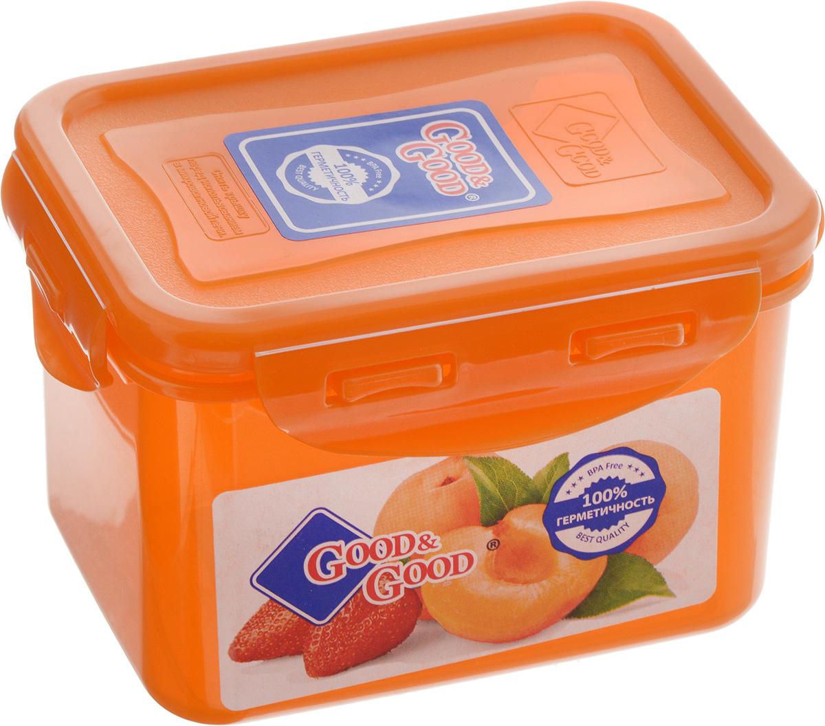 Контейнер пищевой Good&Good, цвет: оранжевый, 630 мл4630003364517Прямоугольный контейнер Good&Good изготовлен из высококачественного полипропилена и предназначен для хранения любых пищевых продуктов. Благодаря особым технологиям изготовления, лотки в течение времени службы не меняют цвет и не пропитываются запахами. Крышка с силиконовой вставкой герметично защелкивается специальным механизмом. Контейнер Good&Good удобен для ежедневного использования в быту.Можно мыть в посудомоечной машине и использовать в микроволновой печи.Размер контейнера (с учетом крышки): 13 х 10 х 8,5 см.