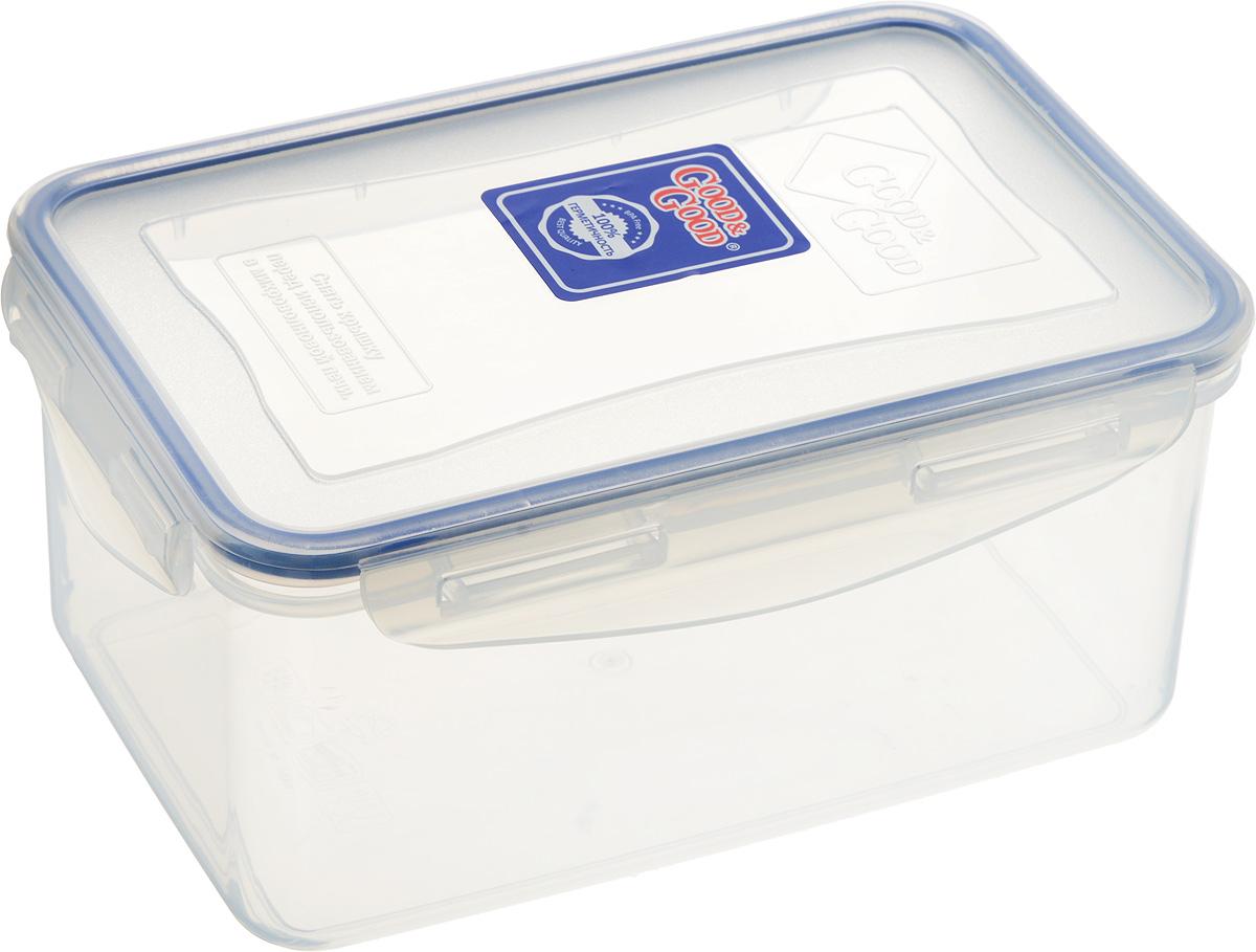 Контейнер пищевой Good&Good, цвет: прозрачный, темно-синий, 1,5 лVT-1520(SR)Прямоугольный контейнер Good&Good изготовлен из высококачественного полипропилена и предназначен для хранения любых пищевых продуктов. Благодаря особым технологиям изготовления, лотки в течение времени службы не меняют цвет и не пропитываются запахами. Крышка с силиконовой вставкой герметично защелкивается специальным механизмом. Контейнер Good&Good удобен для ежедневного использования в быту.Можно мыть в посудомоечной машине и использовать в микроволновой печи.Размер контейнера (с учетом крышки): 20 х 13,5 х 9 см.