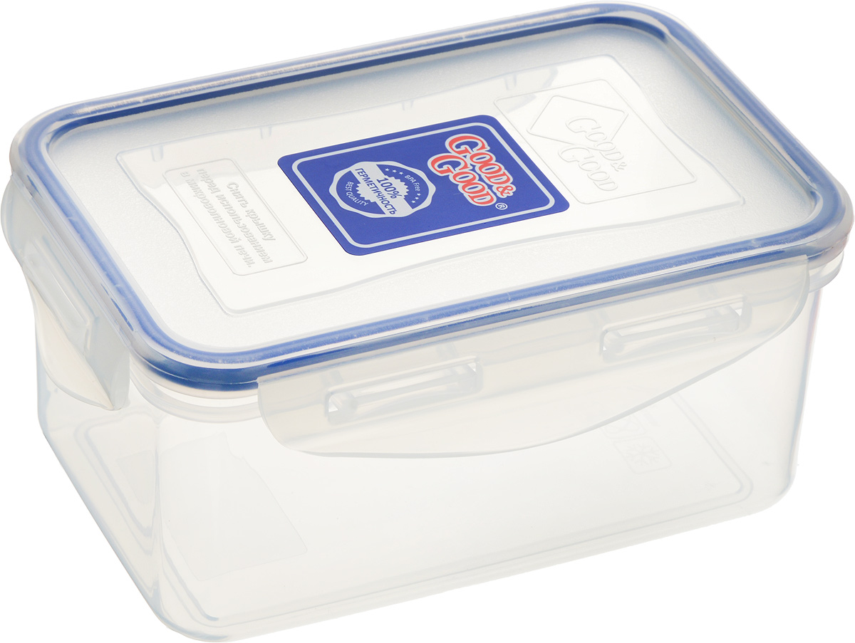 Контейнер пищевой Good&Good, цвет: прозрачный, темно-синий, 800 млАксион Т-33Прямоугольный контейнер Good&Good изготовлен из высококачественного полипропилена и предназначен для хранения любых пищевых продуктов. Благодаря особым технологиям изготовления, лотки в течение времени службы не меняют цвет и не пропитываются запахами. Крышка с силиконовой вставкой герметично защелкивается специальным механизмом. Контейнер Good&Good удобен для ежедневного использования в быту.Можно мыть в посудомоечной машине и использовать в микроволновой печи.Размер контейнера (с учетом крышки): 16 х 11 х 7,5 см.