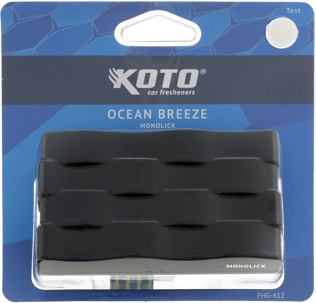 Ароматизатор автомобильный Koto Monolick. Ocean Breeze, гелевый, 90 гCA-3505Автомобильный ароматизатор Koto Monolick. Ocean Breeze эффективно устраняет неприятные запахи и придает приятный аромат. Сочетание геля с парфюмами наилучшего качества обеспечивает устойчивый запах. Кроме того, ароматизатор обладает элегантным дизайном. Благодаря специальной конструкции, изделие крепится на горизонтальную поверхность. Товар сертифицирован.