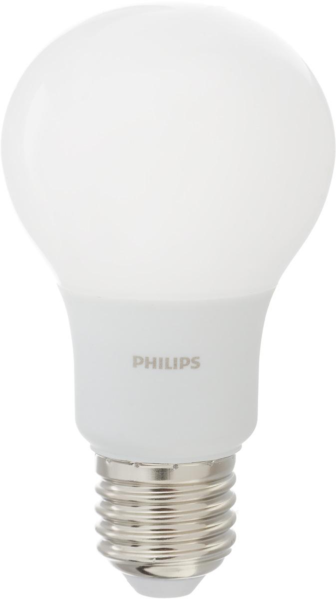 Лампа светодиодная Philips, цоколь E27, 6W, 6500К5055945536447Современные светодиодные лампы Philips экономичны, имеют долгий срок службы и мгновенно загораются, заполняя комнату светом. Лампа классической формы и высокой яркости позволяет создать уютную и приятную обстановку в любой комнате вашего дома.Светодиодные лампы потребляют на 88 % меньше электроэнергии, чем обычные лампы накаливания, излучая при этом привычный и приятный свет. Срок службы светодиодной лампы Philips составляет до 15 000 часов, что соответствует общему сроку службы 15 ламп накаливания. В результате менять лампы приходится значительно реже, что сокращает количество отходов.Напряжение: 220-240 В. Световой поток: 470 lm.Угол светового пучка: 270°.