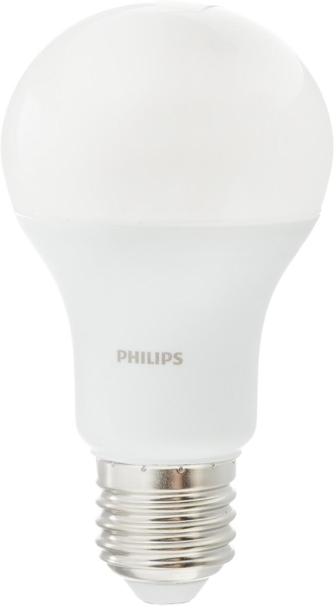 Лампа светодиодная Philips LED buld, цоколь E27, 10,5W, 3000КЛампа LEDBulb 10.5-85WE273000K230VA60/PFСовременные светодиодные лампы Philips LED buld экономичны, имеют долгий срок службы и мгновенно загораются, заполняя комнату светом. Лампа классической формы и высокой яркости позволяет создать уютную и приятную обстановку в любой комнате вашего дома.Светодиодные лампы потребляют на 87 % меньше электроэнергии, чем обычные лампы накаливания, излучая при этом привычный и приятный теплый свет. Срок службы светодиодной лампы Philips составляет до 15 000 часов, что соответствует общему сроку службы 15 ламп накаливания. В результате менять лампы приходится значительно реже, что сокращает количество отходов.Напряжение: 220-240 В. Световой поток: 1055 lm.Угол светового пучка: 270°.