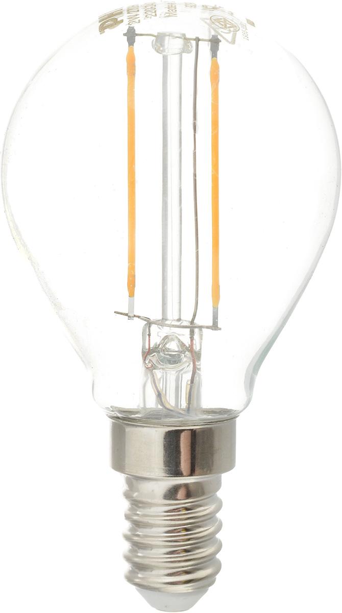 Лампа светодиодная Philips LED bulb, цоколь E14, 2W, 2700K12158Современные светодиодные лампы LED bulb экономичны, имеют долгий срок службы и мгновенно загораются, заполняя комнату светом. Лампа классической формы и высокой яркости позволяет создать уютную и приятную обстановку в любой комнате вашего дома.Светодиодные лампы потребляют на 92 % меньше электроэнергии, чем обычные лампы накаливания, излучая при этом привычный и приятный теплый свет. Срок службы светодиодной лампы LED bulb составляет до 15 000 часов, что соответствует общему сроку службы пятнадцати ламп накаливания. Благодаря чему менять лампы приходится значительно реже, что сокращает количество отходов.Напряжение: 220-240 В. Световой поток: 250 lm.Эквивалент мощности в ваттах: 25 Вт.