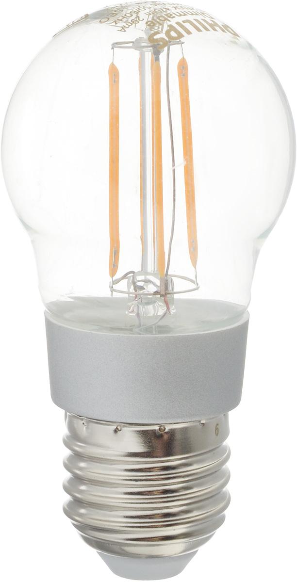 Лампа светодиодная Philips LED buld, цоколь E27, 4,5W, 2700КC0042416Современные светодиодные лампы Philips LED buld экономичны, имеют долгий срок службы и мгновенно загораются, заполняя комнату светом. Лампа классической формы и высокой яркости позволяет создать уютную и приятную обстановку в любой комнате вашего дома.Светодиодные лампы потребляют на 91 % меньше электроэнергии, чем обычные лампы накаливания, излучая при этом привычный и приятный теплый свет. Срок службы светодиодной лампы Philips составляет до 15 000 часов, что соответствует общему сроку службы 15 ламп накаливания. В результате менять лампы приходится значительно реже, что сокращает количество отходов.Напряжение: 220-240 В. Световой поток: 470 lm.Угол светового пучка: 270°.