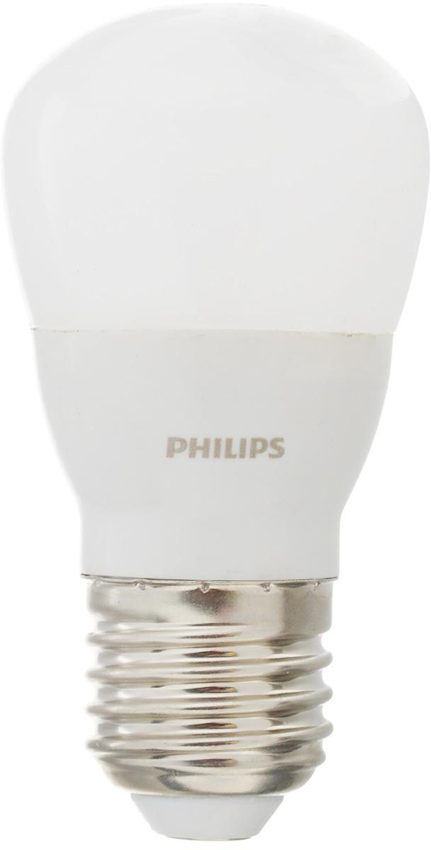Лампа светодиодная Philips LED bulb, цоколь E27, 4W, 3000K12152Современные светодиодные лампы LED bulb экономичны, имеют долгий срок службы и мгновенно загораются, заполняя комнату светом. Лампа классической формы и высокой яркости позволяет создать уютную и приятную обстановку в любой комнате вашего дома.Светодиодные лампы потребляют на 90 % меньше электроэнергии, чем обычные лампы накаливания, излучая при этом привычный и приятный свет. Срок службы светодиодной лампы LED bulb составляет до 15 000 часов, что соответствует общему сроку службы пятнадцати ламп накаливания. Благодаря чему менять лампы приходится значительно реже, что сокращает количество отходов.Напряжение: 220-240 В. Световой поток: 350 lm.Эквивалент мощности в ваттах: 40 Вт.