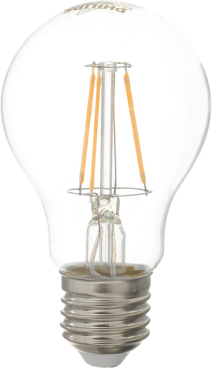 Лампа светодиодная Philips LED buld, цоколь E27, 4W, 2700КRSP-202SСовременные светодиодные лампы Philips LED buld экономичны, имеют долгий срок службы и мгновенно загораются, заполняя комнату светом. Лампа классической формы и высокой яркости позволяет создать уютную и приятную обстановку в любой комнате вашего дома.Светодиодные лампы потребляют на 92 % меньше электроэнергии, чем обычные лампы накаливания, излучая при этом привычный и приятный теплый свет. Срок службы светодиодной лампы Philips составляет до 15 000 часов, что соответствует общему сроку службы 15 ламп накаливания. В результате менять лампы приходится значительно реже, что сокращает количество отходов.Напряжение: 220-240 В. Световой поток: 470 lm.Угол светового пучка: 270°.