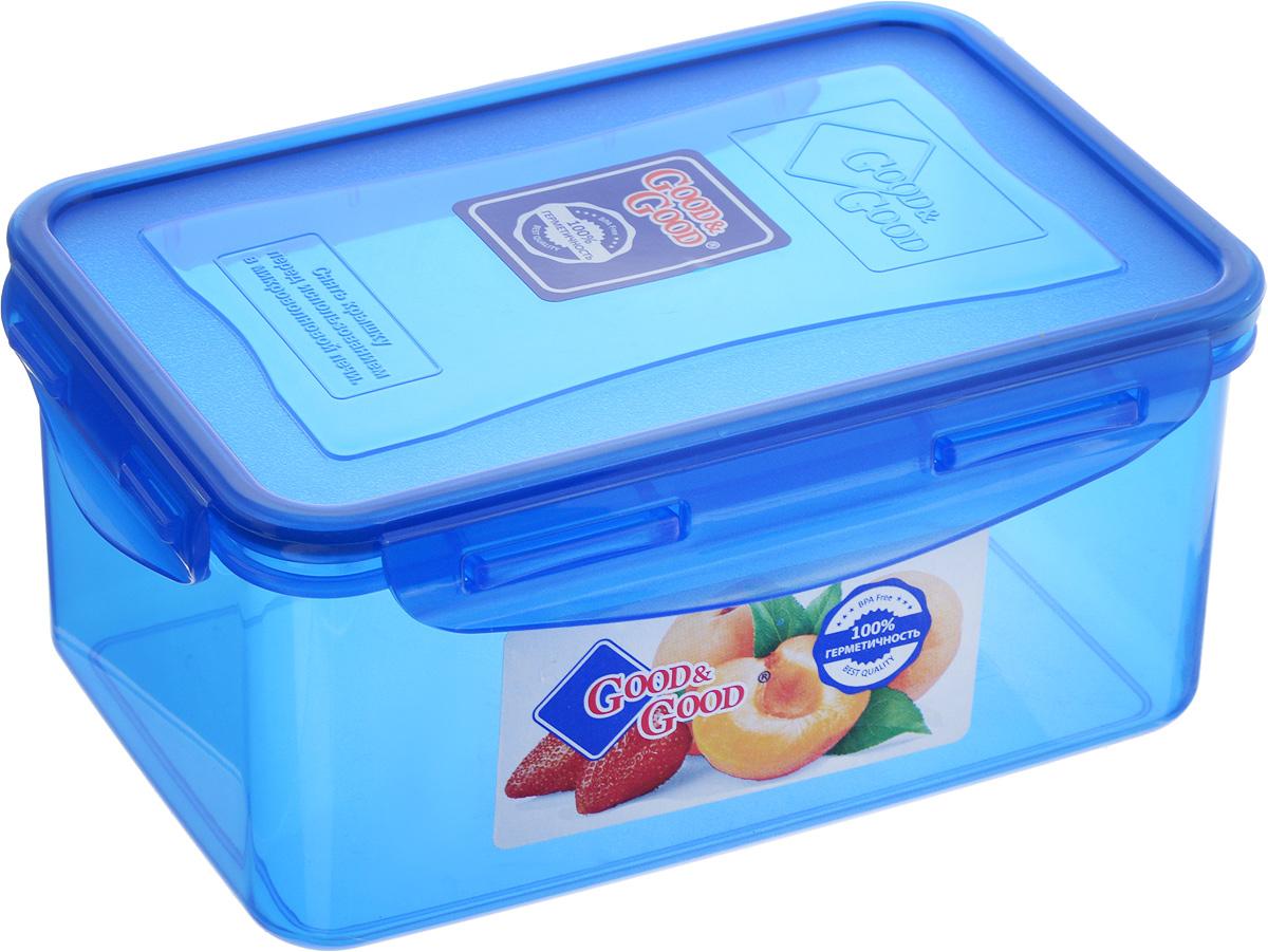 Контейнер пищевой Good&Good, цвет: синий, 800 млFA-5125 WhiteПрямоугольный контейнер Good&Good изготовлен из высококачественного полипропилена и предназначен для хранения любых пищевых продуктов. Благодаря особым технологиям изготовления, лотки в течение времени службы не меняют цвет и не пропитываются запахами. Крышка с силиконовой вставкой герметично защелкивается специальным механизмом. Контейнер Good&Good удобен для ежедневного использования в быту.Можно мыть в посудомоечной машине и использовать в микроволновой печи.Размер контейнера (с учетом крышки): 16 х 11 х 7,5 см.